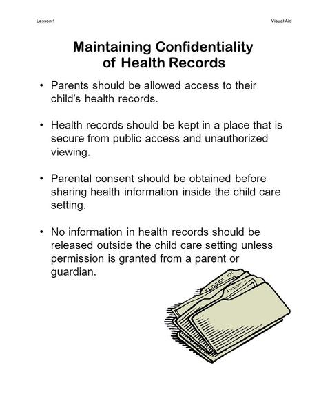 Lesson 1Visual Aid Maintaining Confidentiality of Health Records Parents should be allowed access to their child's health records. Health records should.