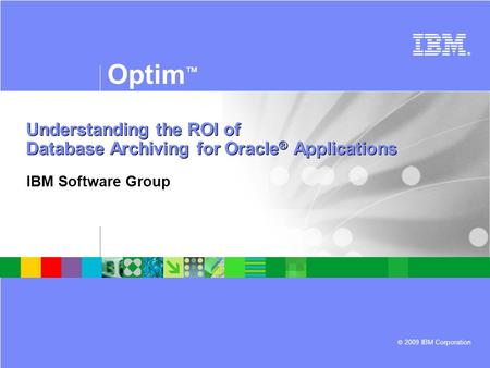 © 2009 IBM Corporation ® Optim ™ Understanding the ROI of Database Archiving for Oracle ® Applications IBM Software Group.