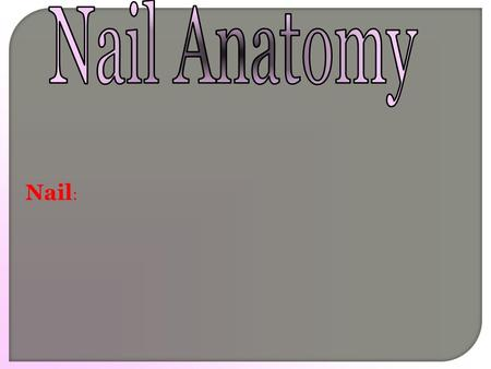 Nail :. Nail : composed mainly of keratin, the same protein in skin and hair.