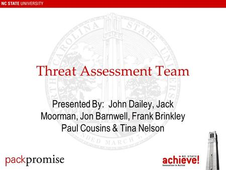 Threat Assessment Team Presented By: John Dailey, Jack Moorman, Jon Barnwell, Frank Brinkley Paul Cousins & Tina Nelson.