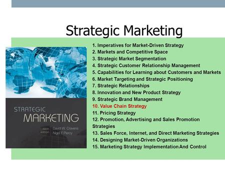 1. Imperatives for Market-Driven Strategy 2. Markets and Competitive Space 3. Strategic Market Segmentation 4. Strategic Customer Relationship Management.