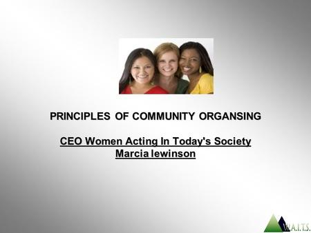 PRINCIPLES OF COMMUNITY ORGANSING CEO Women Acting In Today's Society Marcia lewinson.