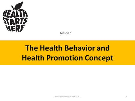 The Health Behavior and Health Promotion Concept Lesson 1 1Health Behavior: CHAPTER 1.