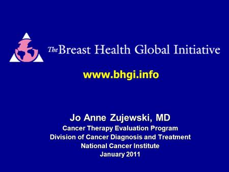 Jo Anne Zujewski, MD Cancer Therapy Evaluation Program Division of Cancer Diagnosis and Treatment National Cancer Institute January 2011 www.bhgi.info.