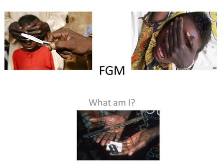 FGM What am I?. What is FGM The term FGM covers all harmful procedures to the female genitalia for non-medical purposes. There are 4 types - all are.