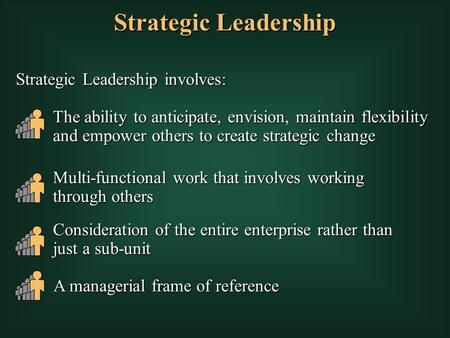 Strategic Leadership Strategic Leadership involves: