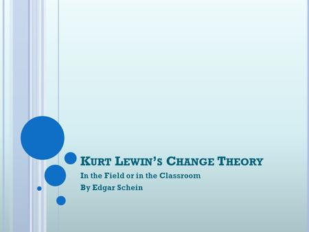 K URT L EWIN ' S C HANGE T HEORY In the Field or in the Classroom By Edgar Schein.