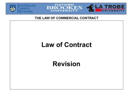 THE LAW OF COMMERCIAL CONTRACT Law of Contract Revision.