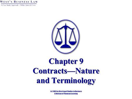 Chapter 9 Contracts—Nature and Terminology