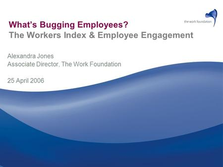 What's Bugging Employees? The Workers Index & Employee Engagement Alexandra Jones Associate Director, The Work Foundation 25 April 2006.