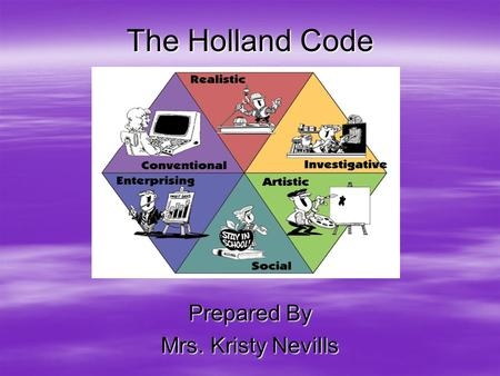 The Holland Code Prepared By Mrs. Kristy Nevills.