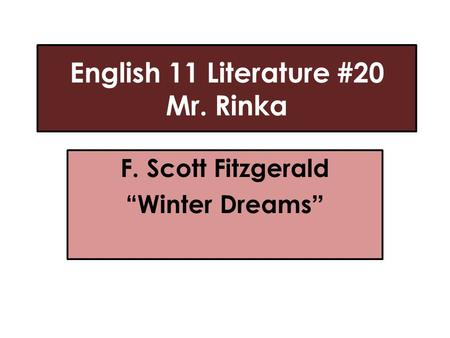 winter dreams literary concerns I really need help' and find homework help for other dreams questions at enotes  winter field the poem, dream  what are 3 literary devices the poet uses to.
