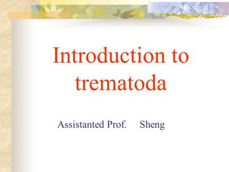 Introduction to trematoda Assistanted Prof. Sheng.