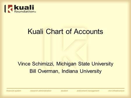 Kuali Chart of Accounts Vince Schimizzi, Michigan State University Bill Overman, Indiana University.