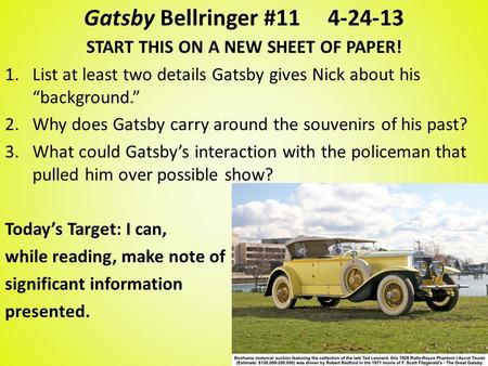 great gatsby journal chapter 7 The great gatsby reading journal: chapter 4 chapter 4 in which nick finds out a little about gatsby's life, goes to lunch with gatsby in new york and jordan baker tells the story of daisy's marriage to tom and first meeting gatsby.