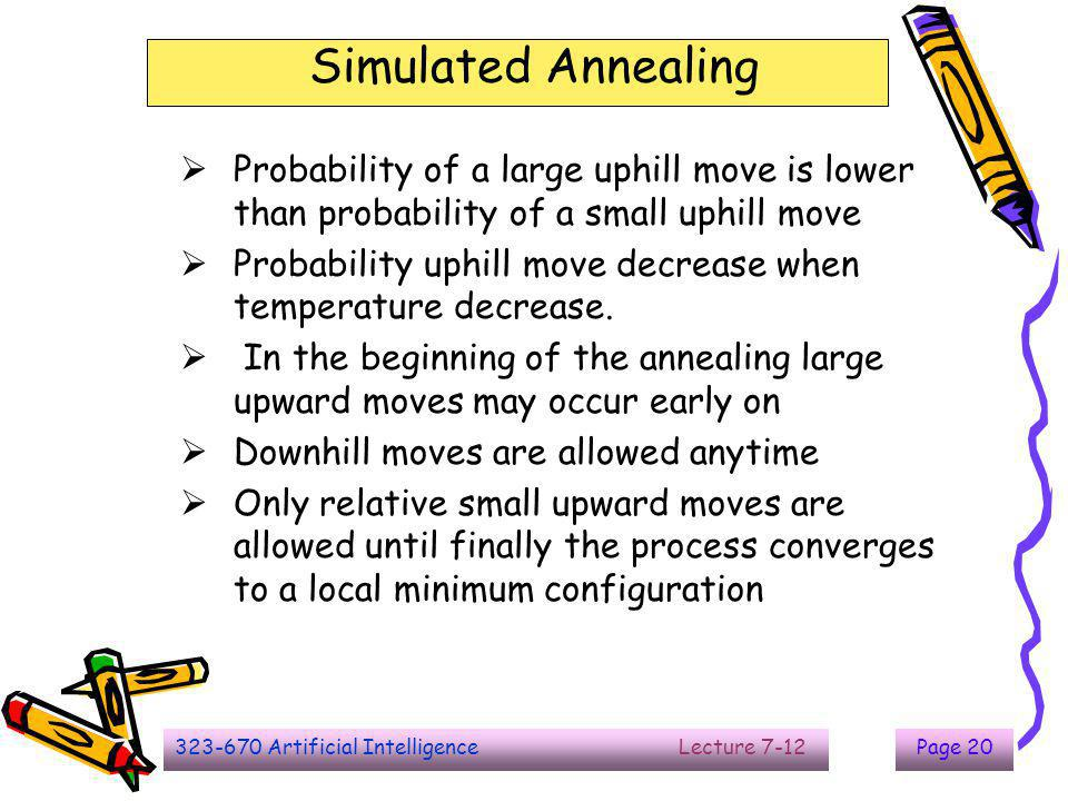 323-670 Artificial Intelligence Lecture 7-12Page 21 Simulated Annealing -  e/KT p = e