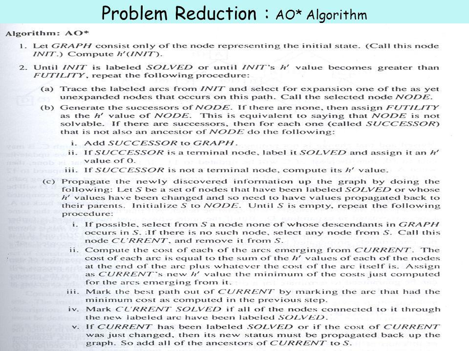 323-670 Artificial Intelligence Lecture 7-12Page 42 Problem Reduction : AO* Algorithm  use a single structure GRAPH  we will not store g  algorithm will insert all ancestor nodes into a set path C will always be better than path B