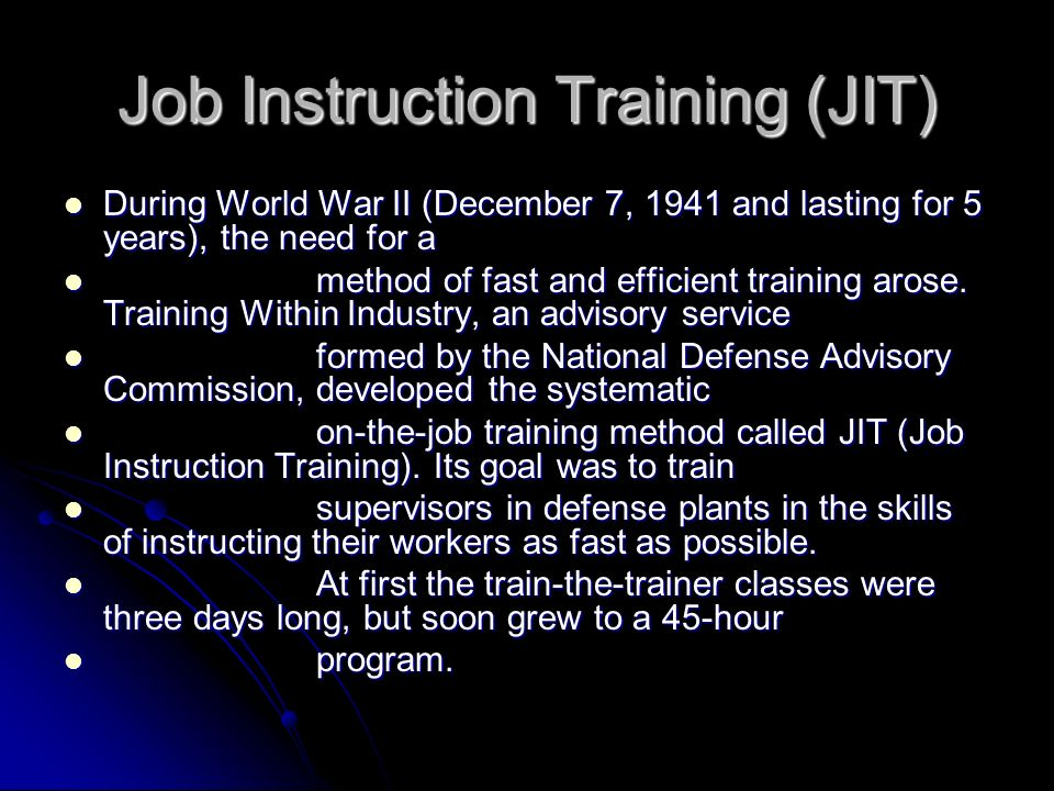 Job-aid links Although used for a very long time, the modern Job-Performance-Aid Although used for a very long time, the modern Job-Performance-Aid traces its modern roots to the JIT method.
