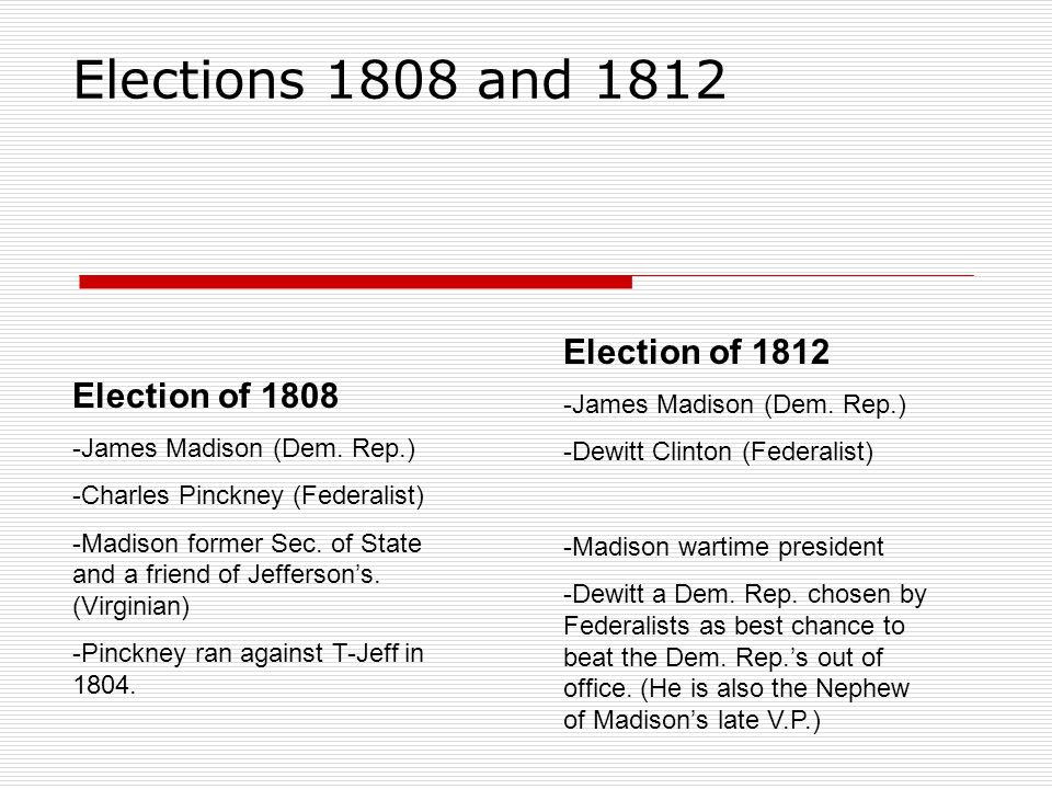 Party platforms/strategy Election 1808 -Dem.Rep.