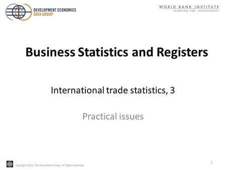 Business Statistics and Registers