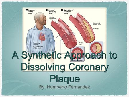 A Synthetic Approach to Dissolving Coronary Plaque By: Humberto Fernandez.