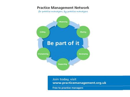 About the Network The Practice Management Network is a partnership organisation that has been set up and run by practice managers, for practice managers.