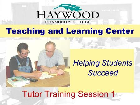 Tutor Training Session 1
