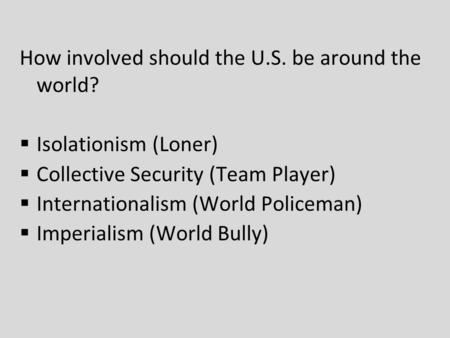 How involved should the U.S. be around the world?