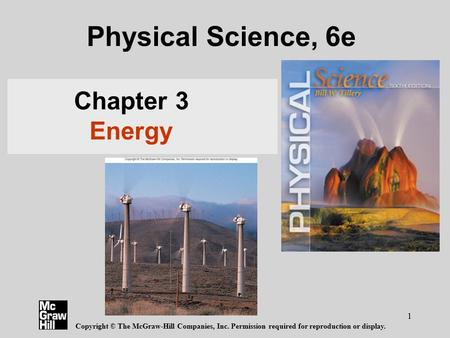 Physical Science, 6e Chapter 3 Energy