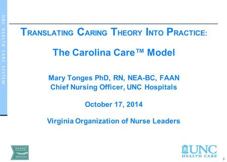 0 U N C H E A L T H C A R E S Y S T E M T RANSLATING C ARING T HEORY I NTO P RACTICE: The Carolina Care™ Model Mary Tonges PhD, RN, NEA-BC, FAAN Chief.