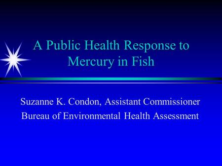 A Public Health Response to Mercury in Fish Suzanne K. Condon, Assistant Commissioner Bureau of Environmental Health Assessment.