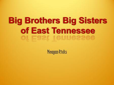 "Meagan Ricks. Big Brothers Big Sisters Mission ""The mission of Big Brothers Big Sisters of East Tennessee is to make a positive difference in the lives."