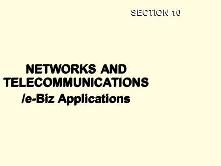 SECTION 10 NETWORKS AND TELECOMMUNICATIONS /e-Biz Applications NETWORKS AND TELECOMMUNICATIONS /e-Biz Applications.