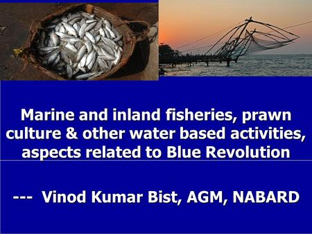 Marine and inland fisheries, prawn culture & other water based activities, aspects related to Blue Revolution --- Vinod Kumar Bist, AGM, NABARD.