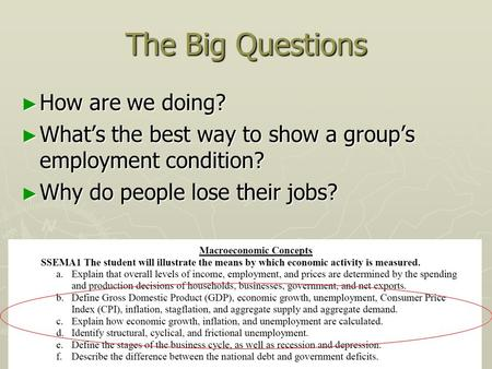 The Big Questions ► How are we doing? ► What's the best way to show a group's employment condition? ► Why do people lose their jobs?