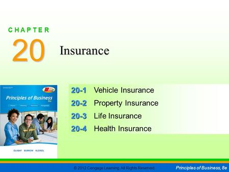 © 2012 Cengage Learning. All Rights Reserved. Principles of Business, 8e C H A P T E R 20 SLIDE 1 20-1 20-1Vehicle Insurance 20-2 20-2Property Insurance.