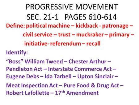PROGRESSIVE MOVEMENT SEC PAGES