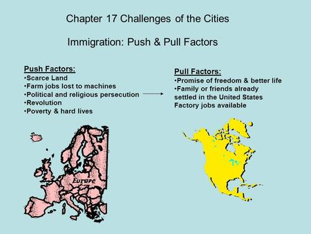 Chapter 17 Challenges of the Cities Immigration: Push & Pull Factors Push Factors: Scarce Land Farm jobs lost to machines Political and religious persecution.
