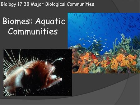 Biology 17.3B Major Biological Communities