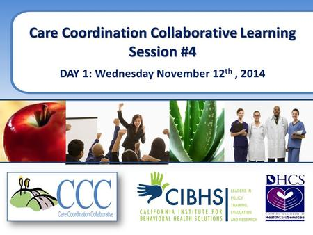 Care Coordination Collaborative Learning Session #4 DAY 1: Wednesday November 12 th, 2014.
