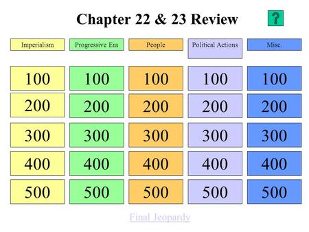 Chapter 22 & 23 Review 100 200 300 400 500 100 200 300 400 500 100 200 300 400 500 100 200 300 400 500 100 200 300 400 500 ImperialismProgressive EraPeoplePolitical.