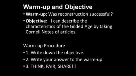 Warm-up and Objective Warm-up: Was reconstruction successful?