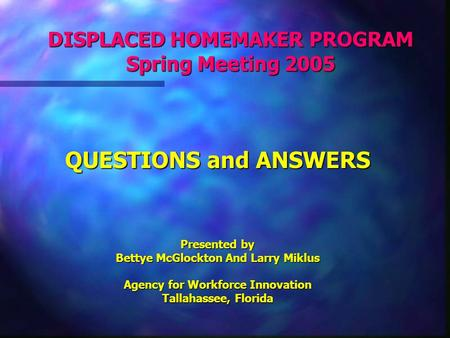 DISPLACED HOMEMAKER PROGRAM Spring Meeting 2005