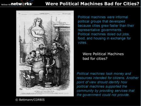 Political machines took money and resources intended for citizens. Another point of view should identify how political machines supported the community.
