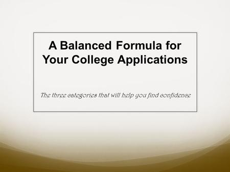 A Balanced Formula for Your College Applications The three categories that will help you find confidence.