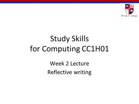 Study Skills for Computing CC1H01