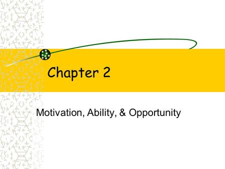 Chapter 2 Motivation, Ability, & Opportunity. Learning Objectives~ Ch. 2 1. Discuss the four types of influences that effect the consumer's motivation.