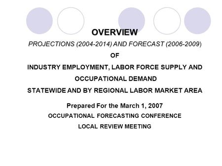 OVERVIEW PROJECTIONS (2004-2014) AND FORECAST (2006-2009 OVERVIEW PROJECTIONS (2004-2014) AND FORECAST (2006-2009) OF INDUSTRY EMPLOYMENT, LABOR FORCE.