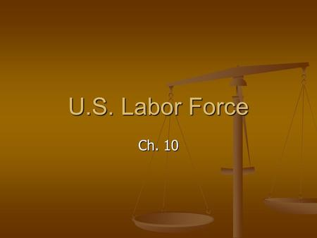 U.S. Labor Force Ch. 10. Changes in Labor Force Def. – all people not in institutions who are 16 years of age or older and who are currently employed.