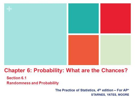 + The Practice of Statistics, 4 th edition – For AP* STARNES, YATES, MOORE Chapter 6: Probability: What are the Chances? Section 6.1 Randomness and Probability.